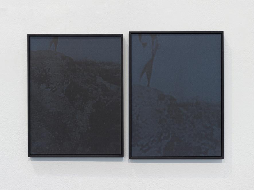 Swimmer I & II, archival pigment print on sandpaper, monotypes, 27 x 21 cm, 2018.