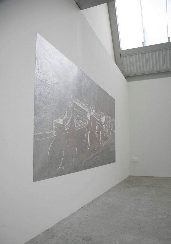 I remember thinking someone had been very bright (installation view), archival pigment print and silver paint marker on paper, 152 x 310 cm,  2014.