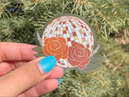 Clear Disco Flowers Sticker