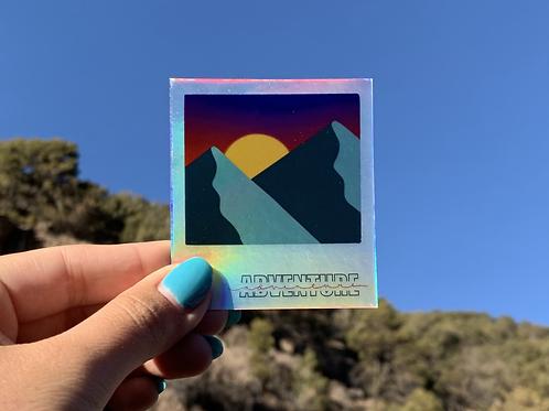 Holographic Adventure Polaroid Sticker