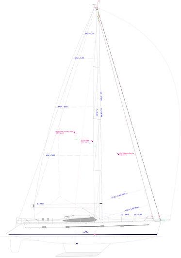 Kraken 50 ft yacht sail plan
