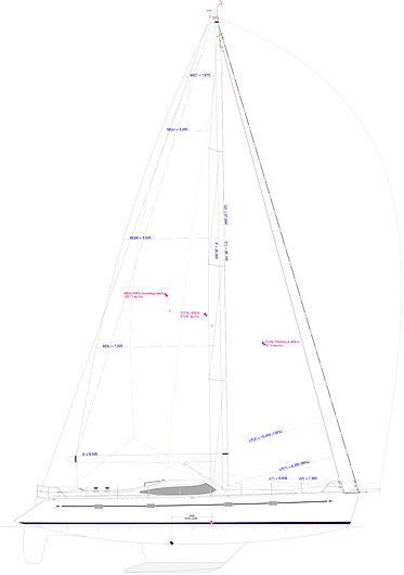 Kraken 50 ft yacht sail plan