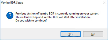 Vembu BDR Upgrade Wizard v4.0 Service restart information