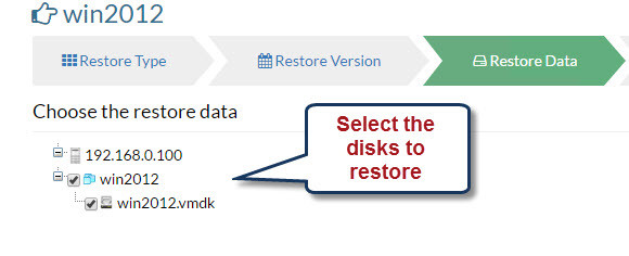Disk restoration in Vembu