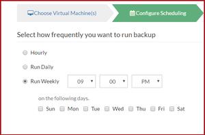 Weekly backup options in Vembu