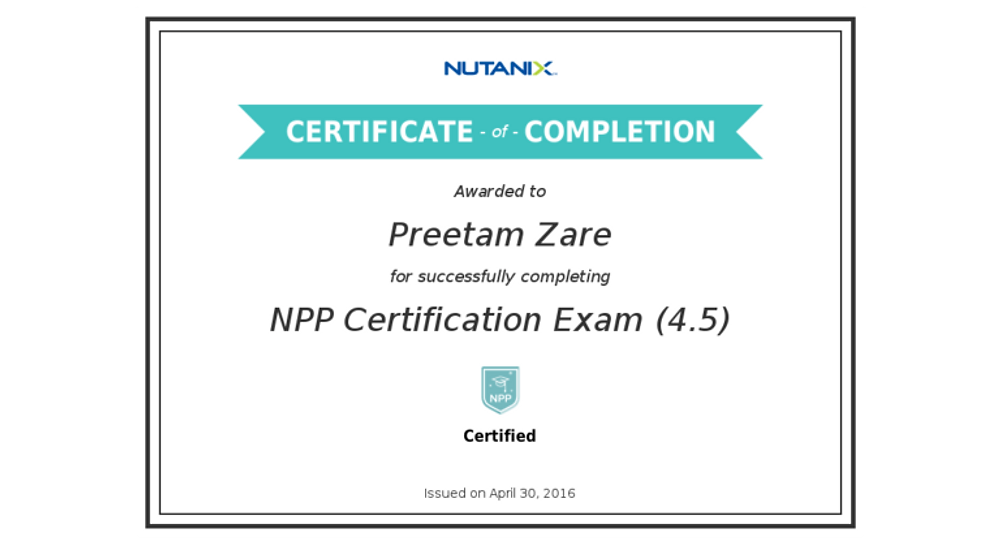 Preetam Zare_NPP Certification Exam (4.5)_Certificate