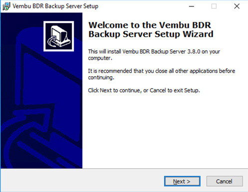 Vembu BDR Upgrade Setup Wizard