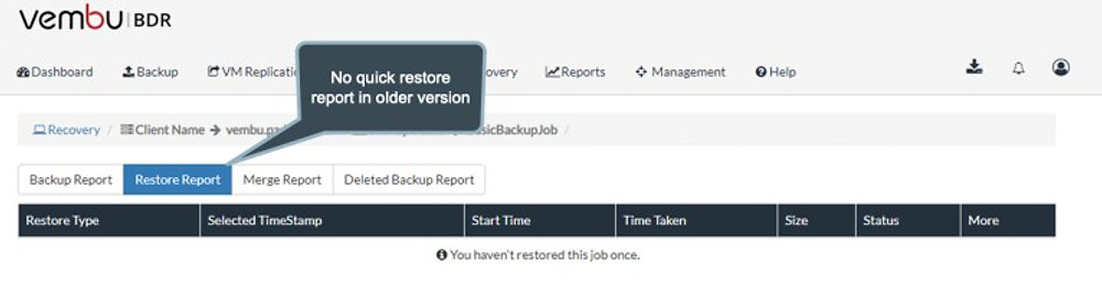 Quick Restore Report in v3.9.1
