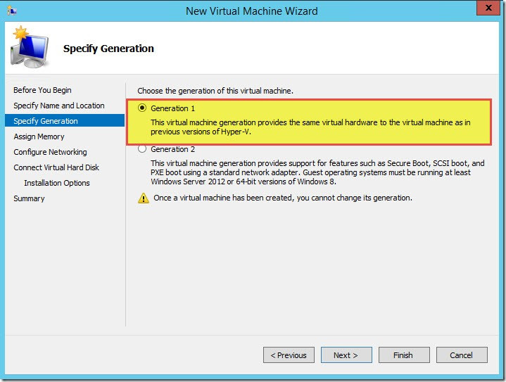 Virtual Machine Generations in Hyper-V