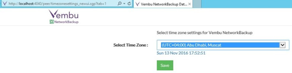 Configure Time Zone for Vembu Backup Client