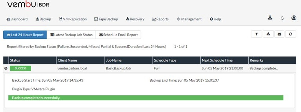 Vembu Backup Report v3.9.1