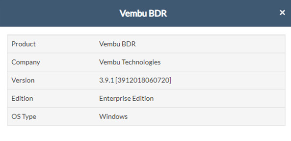 Vembu BDR Upgrade from v3.91