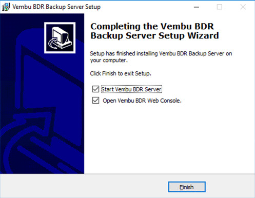 Vembu BDR Upgrade Setup Wizard Completed