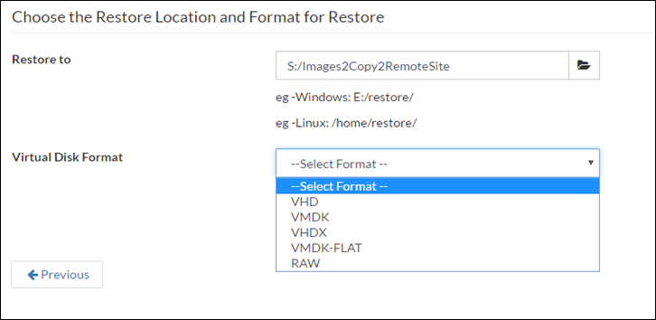 Choose the Restore Location and Format for Restore in Vembu
