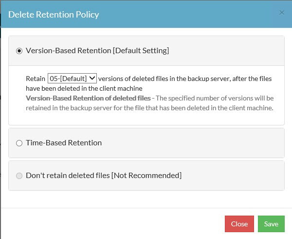 Retention Policies for Deleted Files in Vembu
