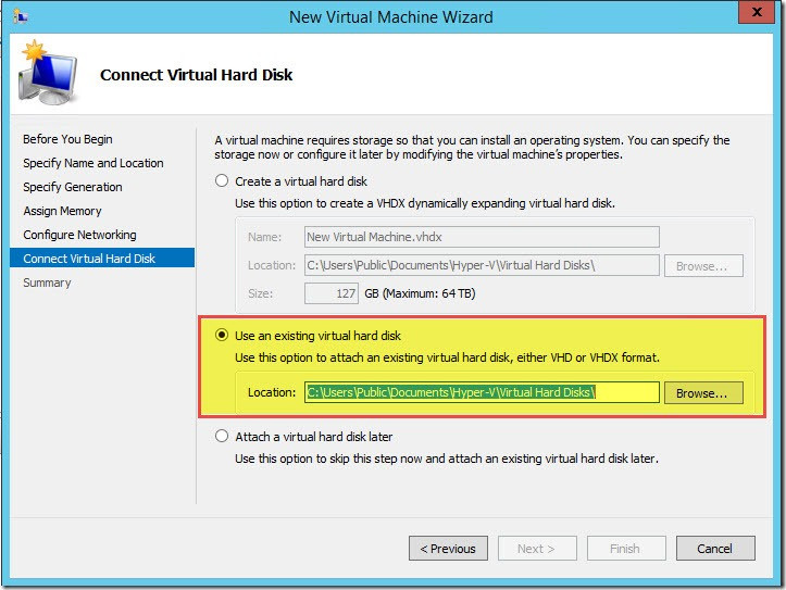 Choose Virtual Machine Disk Generations in Hyper-V