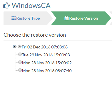 Choose the restore version in Vembu