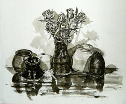Ceramic pots with roses