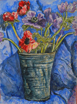 Anemones in ceramic vase