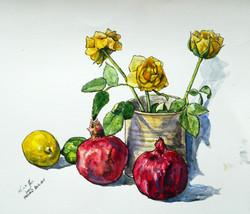 Yellow roses with pomegranates, 2002
