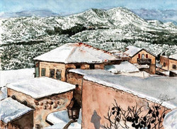 Snow in Safed with Mt. Meron