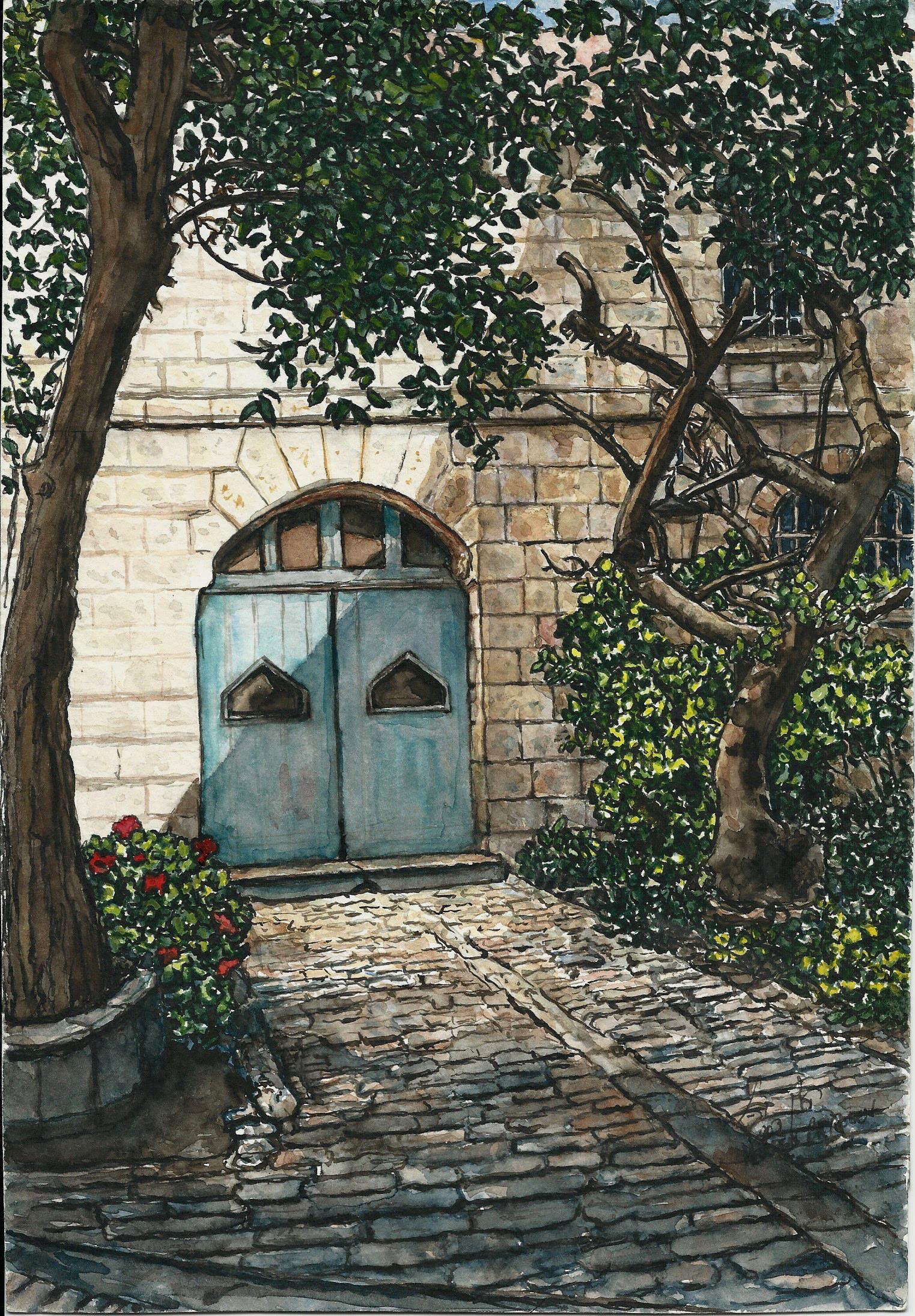 Doors in Sergei Courtyard Jerusalem