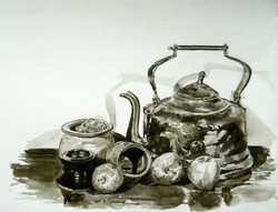 Kettle and apples