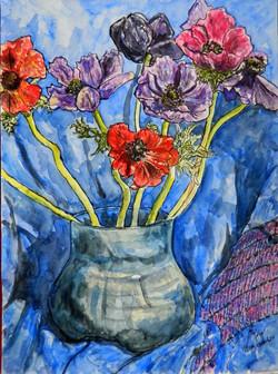 Anemones is glass vase