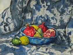 Pomegranates pears and lemons