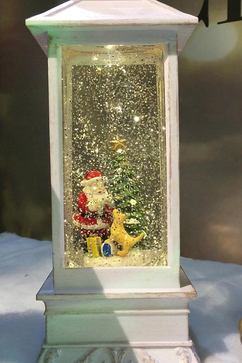 KS005 Water Filled Lantern, Santa & The Pup