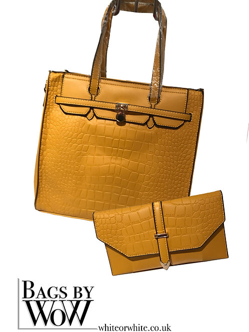 "B0022 ""Ness"" Yellow Tote Bag with Purse"