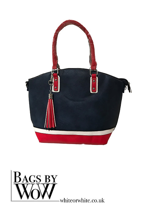 "B0026  ""Dart""  Navy Blue Red and White Tote Bag"