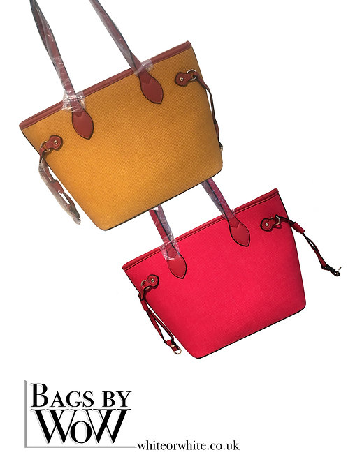 "BLS042a ""Calder"" Large Tote in Burnt Mustard or Strawberry Red"