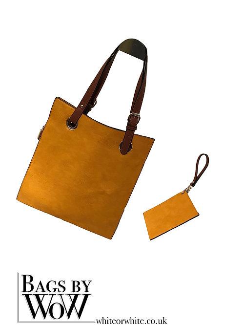"BLS022 ""Illusion"" Bag Mustard Yellow with Brown Handles"