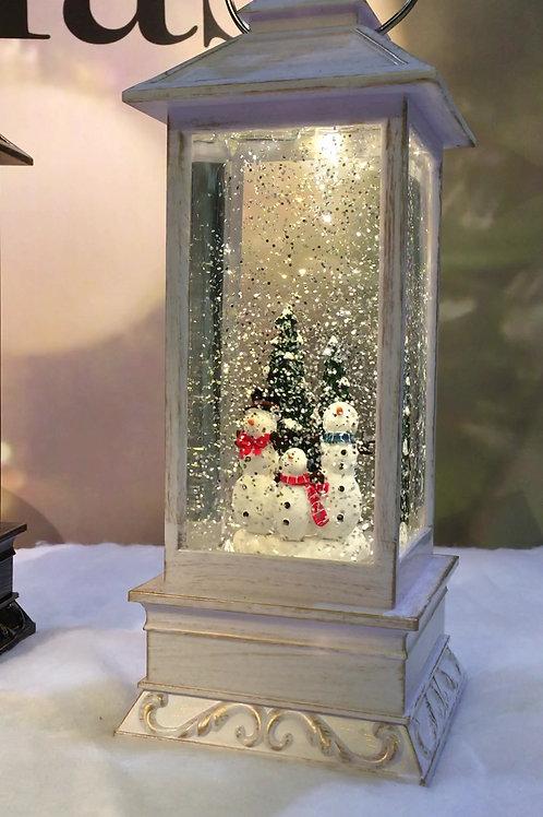 KS006 Water Filled Lantern in white case 3 Snowmen