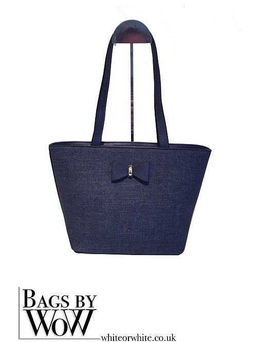 "BLS041b""Tay""  Small Tote Bag  in Multi Tonal Yellow & Denim Blue"