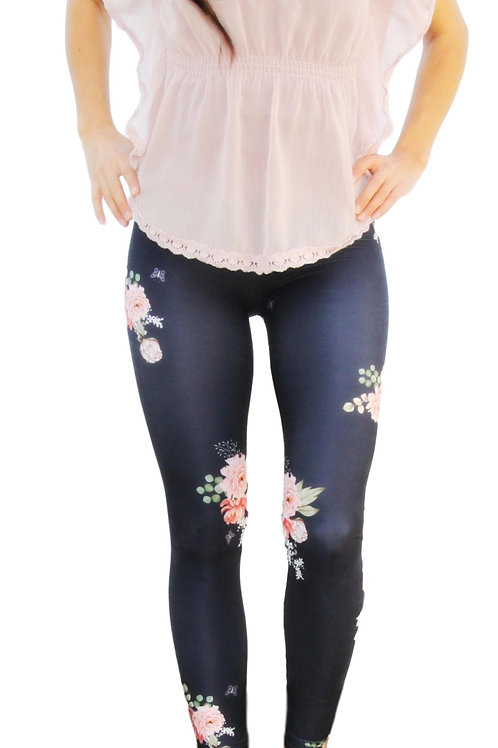Adult Navy Floral Leggings