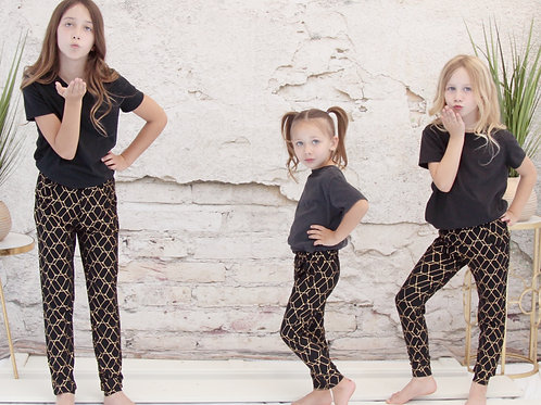 Kids Black and Gold Joggers