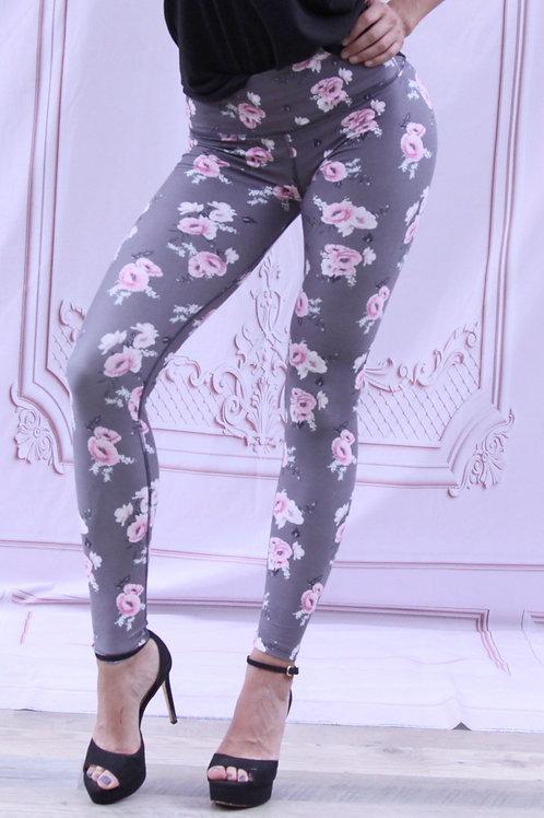 Adult Gray Floral Legging