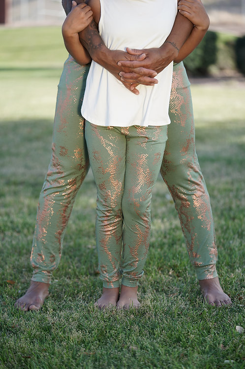 Kid Sage Green and Snakeskin Joggers