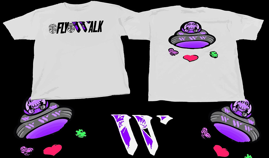 2FLY2WALK X WEALTH TEE [WHITE]