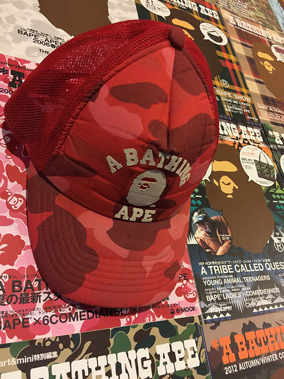 BAPE RED CAMO CAP
