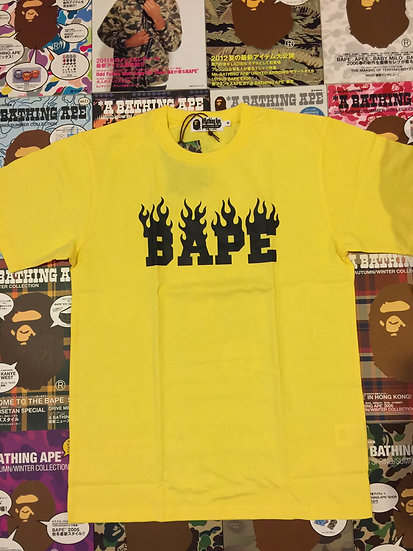BAPE YELLOW FLAME TEE