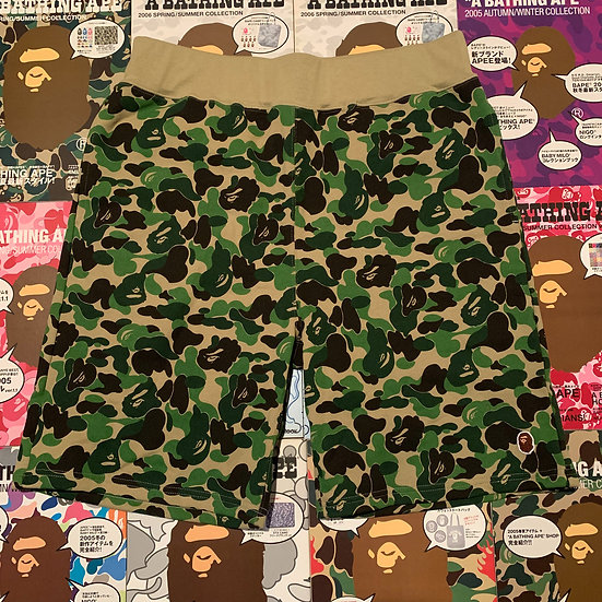 BAPE ABC GREEN CAMO SHORTS