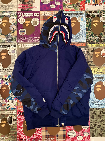 BAPE BLUE CAMO SHARK DOWN
