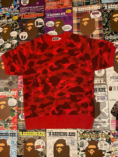 BAPE RED CAMO SHORT SLEEVE SWEATER