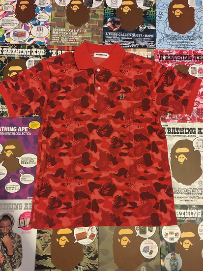 BAPE RED FLAME CAMO POLO