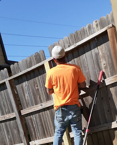 "<img src=""KatyFenceRepairs.jpeg"" alt=""Repairing wood fence post that was rotted on Katy TX property"">"