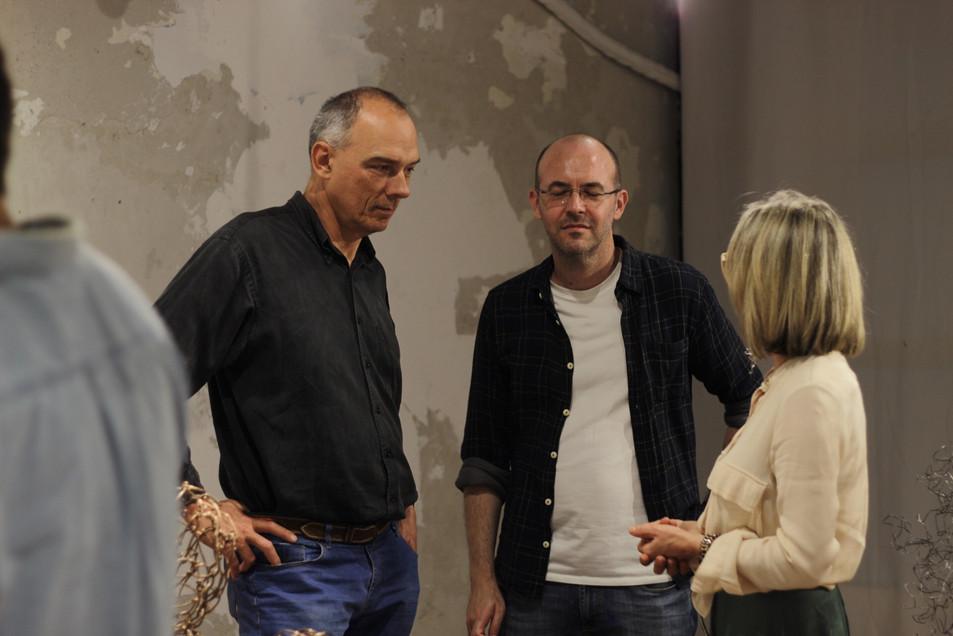 prof. Antonio e Evandro do IFSul Sapucaia e artista Silvia Rodrigues
