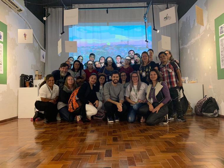 turma do PROEJA - Técnico em Administração presente na abertura da exposição